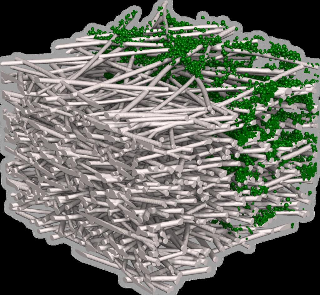 Darstellung der Mikrostruktur mit der leeren Faserstruktur auf der linken Seite und der Struktur mit den gefilterten Partikeln auf der rechten Hälfte.