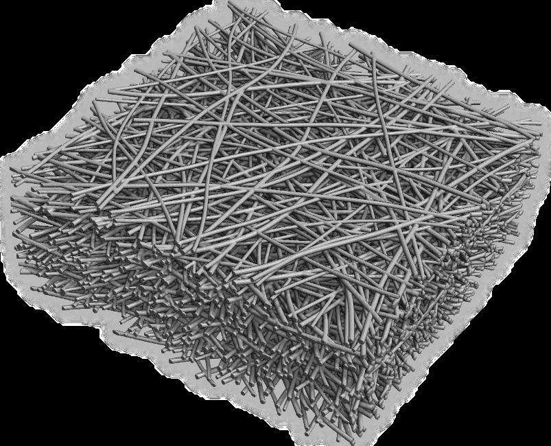 Einfaches Filtermedium mit leicht gekrümmten Fasern und einer geringen Streuung der Faserdurchmesser. Generiert mit GeoDict.